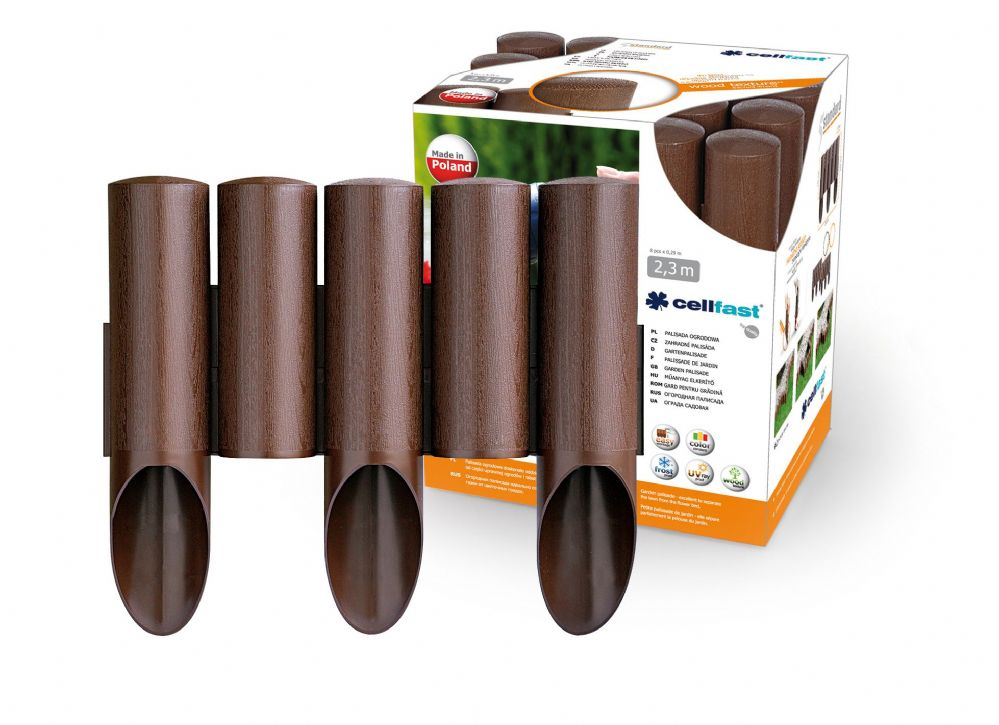 Garden Plastic Palisade 7.5ft - 2.3m Long - 5 elements STANDARD in Brown Color